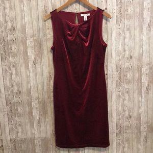 White House Black Market deep red velvet dress